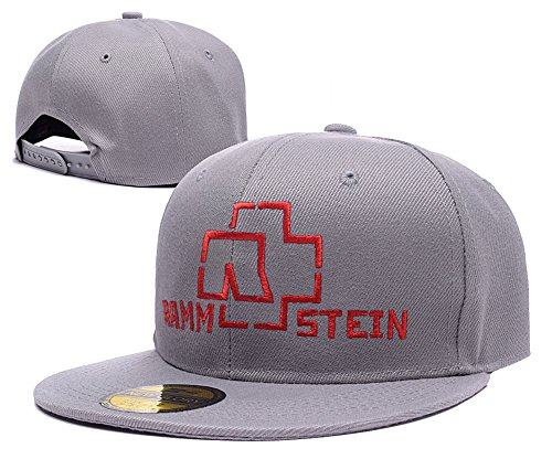 Price comparison product image RHXING Rammstein Heavy Metal Rock Band Logo Adjustable Snapback Caps Embroidery Hats Grey
