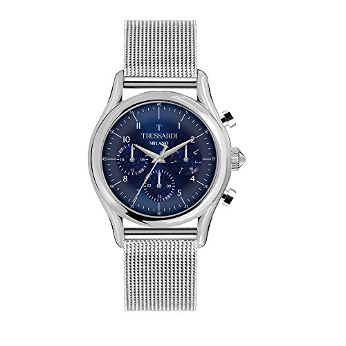 TRUSSARDI Men's T-Light Analog-Quartz Stainless-Steel Strap, Silver, 16 Casual Watch (Model: R2453127005) ()
