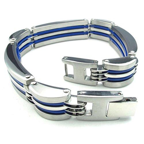Acier Inoxydable Bracelets, Homme Lien Bracelets Argent Longueur 8.5 In Epinki