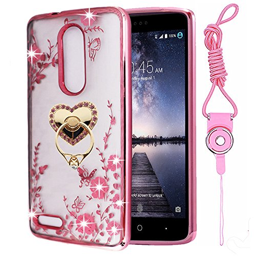 ZTE Zmax Pro Case , ZTE Imperial Max Z963U Case ,ZTE Grand X Max 2 Case , Luxury Bling Clear Slim TPU Soft Stand Case Cover For ZTE Max Duo - Epacket Shipping Time