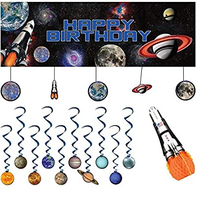 Space Blast Decoration Party Supplies Pack | Dizzy Danglers, Banner, and Centerpiece | Outer Space Birthday Party Supplies | Galaxy Party Supplies | Solar System Party Decorations: Health & Personal Care