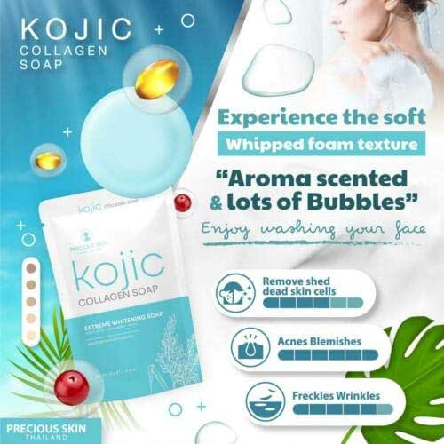 KOJIC Collagen Soap Extreme Whitening Moisturizing Reduce Dark Spot Acne 60g 10 Bar x DHL EXPRESS