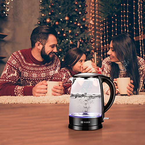 Habor Electric kettle, Water Boiler 1500W Fast Heating Tea Pot, 1.8 Quart (1.7 L) Blue LED Lights Bright Glass Body, Auto Shut-Off Boil-Dry Protection Stainless Steel Inner Lip
