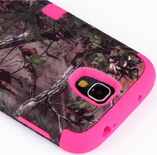 "myLife (TM) Rose Pink - Brown Tree Camouflage Design (3 Piece Hybrid) Hard and Soft Case for the Samsung Galaxy S4 ""Fits Models: I9500, I9505, SPH-L720, Galaxy S IV, SGH-I337, SCH-I545, SGH-M919, SCH-R970 and Galaxy S4 LTE-A Touch Phone"" (Fitted Front and Back Solid Cover Case + Internal Silicone Gel Rubberized Tough Armor Skin + Lifetime Warranty + Sealed Inside myLife Authorized Packaging) ""ADDITIONAL DETAILS: This three layer Galaxy S4 armor skin gel fit together case is made of grip easy smooth silicone and hardshell plates that slide in to your pocket easily yet won't slip out of your hand"""