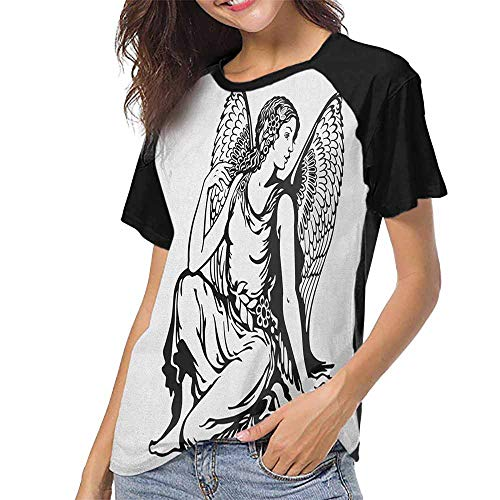 Zodiac Virgo,Summer Custom Tees for Girls S-XXL(This is for Size Small) Young Woman Artistic Figure with Angel Wings Monochrome Tattoo Art Design,Baseball T-Shirt Summer ()