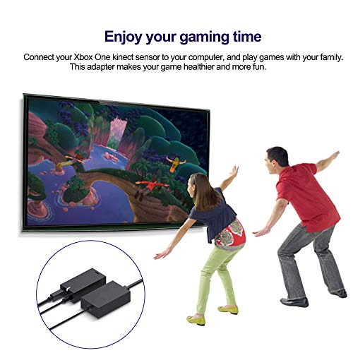 Xbox One Kinect Adapter, Xbox One Games Adapter, Kinect 2.0 Sensor Power Supply Compatible with Xbox One S/X, Windows 10 PC