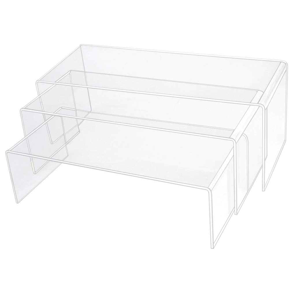 obmwang 3 Pack Large Clear Acrylic Riser Set, Acrylic Display Risers Shelf Showcase Fixtures for Jewelry, Display Stand (3 Sizes A)