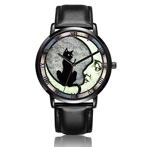 Canisto Cat Watches, Unique Ladies Watch Black Leather Band Watch for Couples Lovers Cute Personalized Classic Fashion Mens Watch - Black Dial-Night