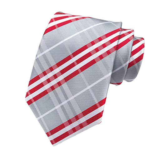 MINDENG Classic Silver Red Striped Jacquard Woven 100% Silk Men's Ties Neckties