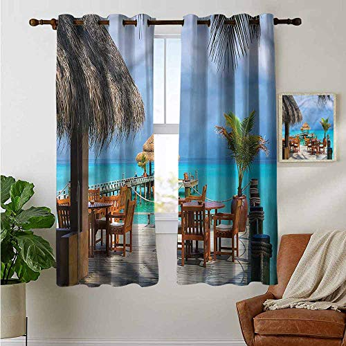 Kitchen Curtains Coastal,Cafe on The Beach Wood Dock,Rod Pocket Drapes Thermal Insulated Panels Home décor 42