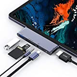 USB C Hub for iPad Pro 2018 - USB Type-C to 4K HDMI Adapter w USB 3.0 - SD TF Card Reader - 3.5mm Headphone Jack - PD Charging (SpaceGray)
