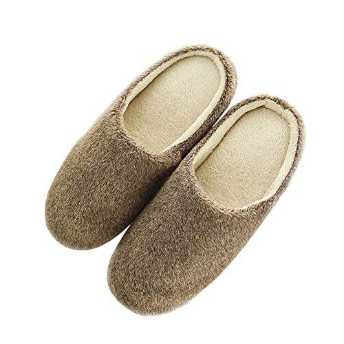 House slip Slippers Fleece ESHOO Anti Shoes Warm Winter Coffee Cozy Plush t7Ww8wAHqz