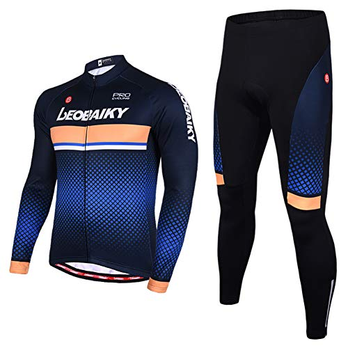 (Leobaiky Spring Autumn Winter Mens Cycling Clothing Set Sportswear Suit 0utdoor Sports Bicycle Bike Long-Sleeved Cycling Jerseys Pants (US XL (Asia 3XL), Blue)