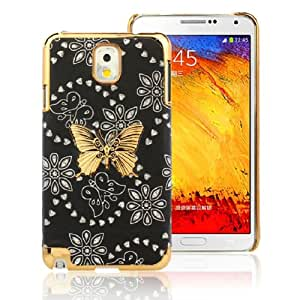 Amjimshop (Tm) Good Looking Bling Leather Skin Butterfly Case Cover for Samsung Galaxy Note 3 III N9000 (Black)