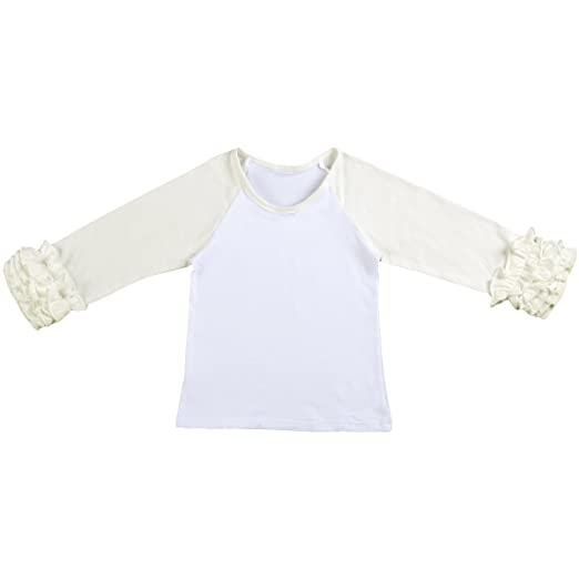 69bbd340 Toddler Little Girl's Icing Ruffle Shirts Cotton Soft Long Sleeve Layering  Raglan School Uniforms Baseball Tee