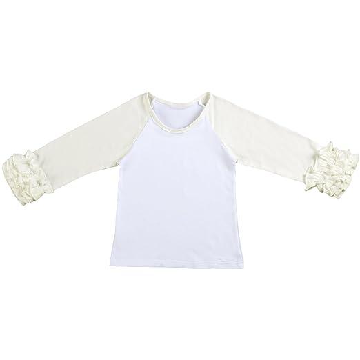 cabdaea927a Toddler Little Girl s Icing Ruffle Shirts Cotton Soft Long Sleeve Layering  Raglan School Uniforms Baseball Tee