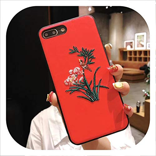 (Fashion Orchid Grass Magpie Chinese Style Embroidery Delicate Soft Fabric Flannel Phone Case for iPhone 6 6S 7 8 Plus X XS XR-in Half,Red,for iPhone 6)