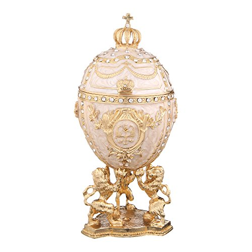 danila-souvenirs Russian Faberge Style Egg/Trinket Jewel Box with Lions & Russian Emperor's Crown 5.9'' - Jewel Box Egg