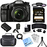 Sony ILCA68K/B a68 A-Mount Digital Camera 18-55mm Zoom Lens Bundle includes ILCA68/B Camera, 18-55mm Zoom Lens, 55mm Filter Kit, 64GB SDXC Memory Card, Deluxe Bag, Beach Camera Cloth and More!