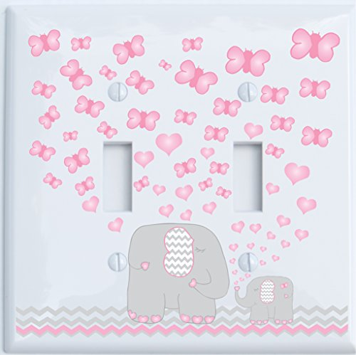 Pink Elephant Double Toggle Light Switch Plate Covers/Elephant Nursery Decor with Grey and Pink Chevron Switch Plates with Pink Hearts and Butterflies (Double Toggle)