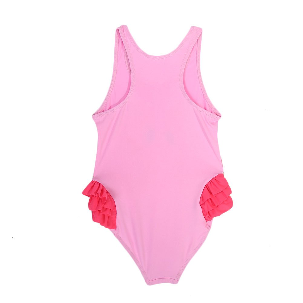 Girls One Piece Adjustable Beach Swimwear,Swimsuit for Bathing Beach with Hat L-Pink Flamingo