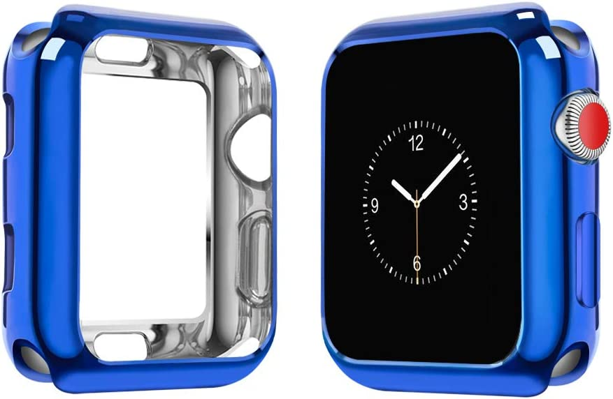 top4cus Environmental Soft Flexible TPU Anti-Scratch Lightweight Protective 38mm Iwatch Case Compatible with Apple Watch Series 5 Series 4 Series 3 Series 2 Series 1 - Royal Blue