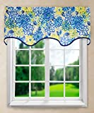Ellis Curtain Matisse Wave Valance, 50 x 15″, Blue For Sale