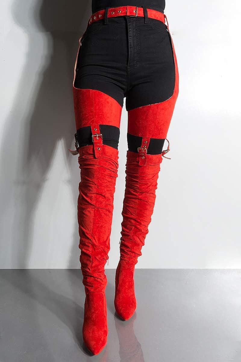 70f5da5211d4f Amazon.com: AZALEA WANG Faux Suede Chunky Heel Rihanna Adjustable Belted  Garter Chaps Suspender Boots: Clothing
