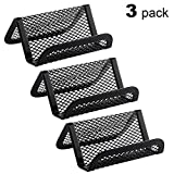MaxGear Metal Mesh Business Card Holder Stand for Desk Office Business Card Holders Mesh Collection Organizer for Name Card, Capacity 50 Cards, Black Mesh Business Card Display, 3 Pack Larger Image