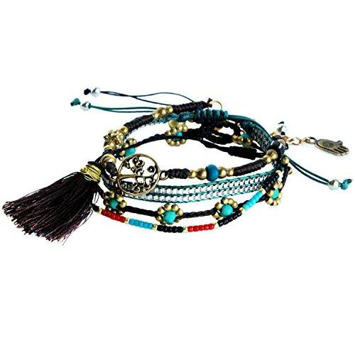 Women Turquoise Bead Bohemian Multilayer Bracelet Woven Rope Bell Tree Life Charm Bracelet Set of (Woven Hemp)