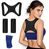 Yica Back Adjustable Posture Corrector for Women & Men - Effective and Comfortable Clavicle Brace - Posture Fixer Black