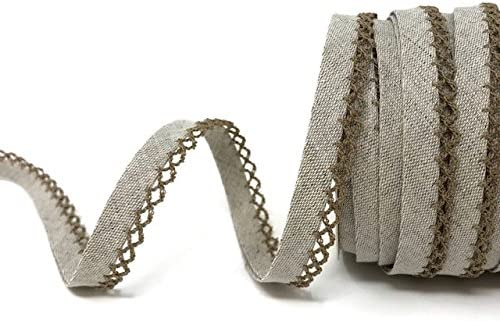 price per metre Byetsa Oatmeal Linen Pre-Folded Bias Binding with Taupe Lace Edge N.B. this is a cut from a roll, presented on a Berties Bows ribbon card