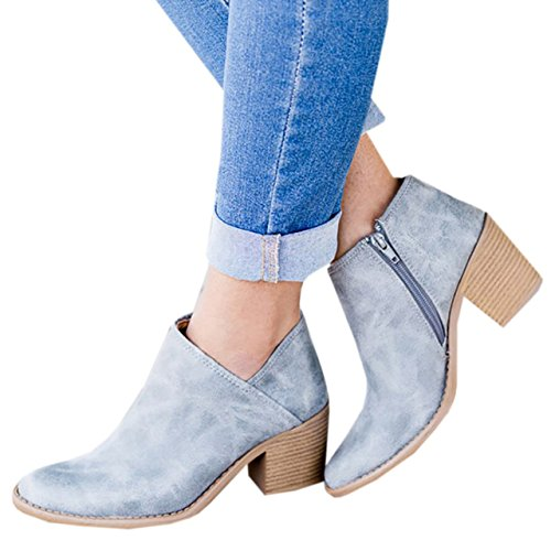 2 Zipper Side Boots Heel light Chunky Booties Block Ankle Toe High V Pointed Cut Womens Blue O1fxStnwz