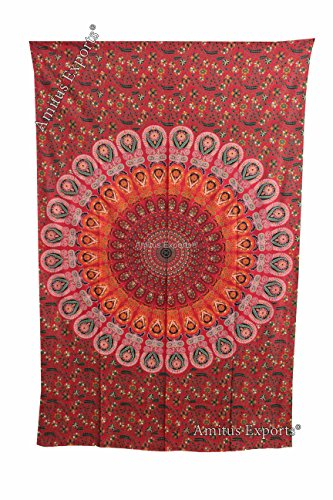 Amitus Exports 1 X Peacock Round 82X52 Approx. Inches Red Orange Multi Color Cotton Fabric Multi-Purpose Handmade Tapestry Hippy Indian Mandala Thro…