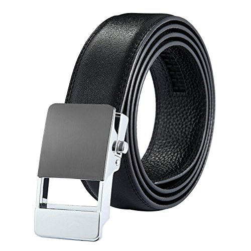 Leather Belt For Men with Automatic Buckle Ratchet Belt Adjustable Size Long 50
