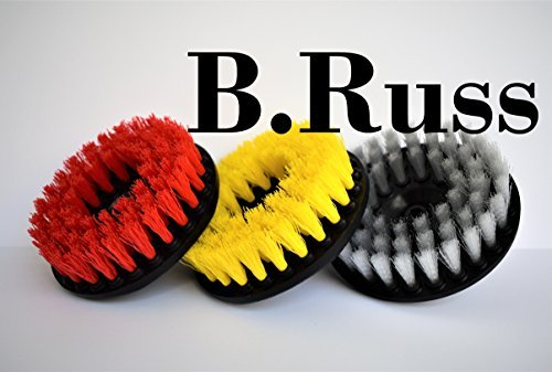 Drill Brush, Rotary Brush Cleaning Kit, Set of 3 Brushes for Carpet, Car Mats and Tires, Tiles, Stone, Concrete, Bathroom, by B.Russ