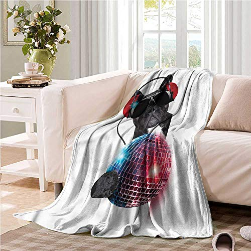 Oncegod Beds Blanket Music DJ Bulldog in Party Puppy Blanket on Bed Sofa Bedding 60