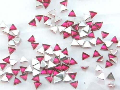 Zink Color Nail Art Acrylic Rhinestone Pink Triangle 100 Piece Embellishment]()