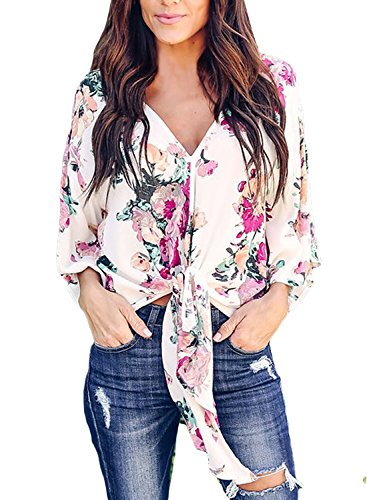 Floral Print Silk Blouse - FARYSAYS Women's Casual Chiffon Short Sleeve Floral Print V Neck Blouse Tops and T-Shirts Multicoloured Small