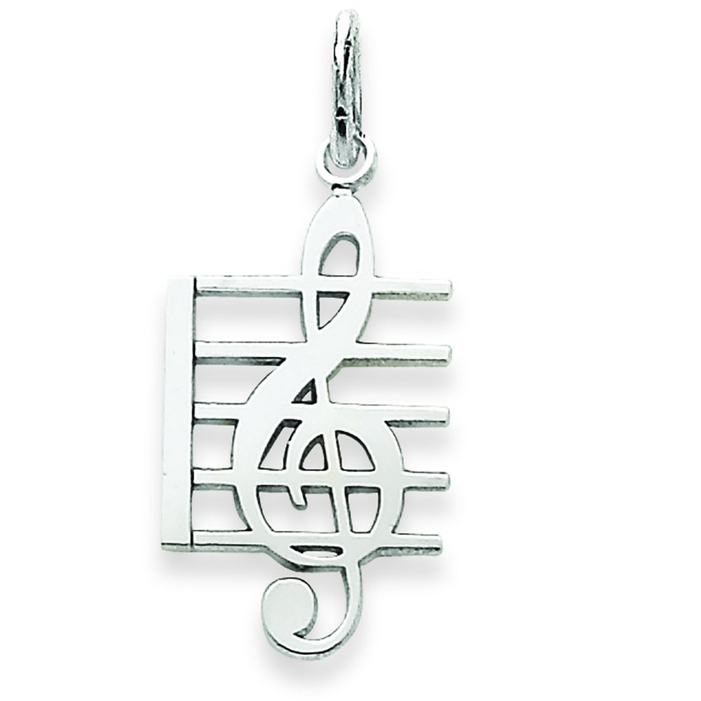 Pendants Arts and Theater Charms 14K White Gold Music Note Charm Pendant
