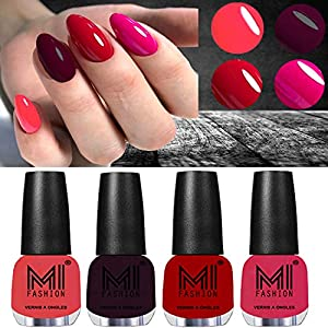 MI FASHION Ultra High 3D Shine Longest Lasting Nail Polish Set Paint Combo 12ml Each Pink, Maroon, Tomato Red, Magenta…