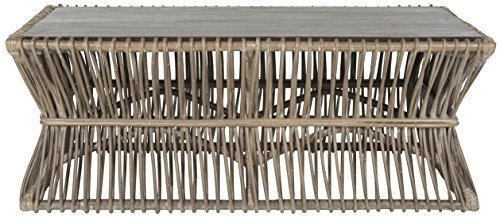 Safavieh Home Collection Gensho Rattan Coffee Table, White/Grey Wash