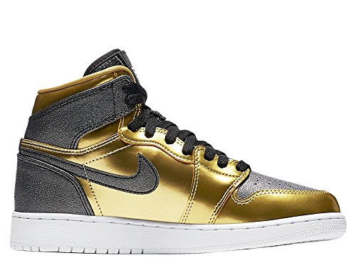 Nike Boys Jordan 1 Retro BHM GG Metallic Gold/Black Leather Size 6Y