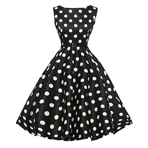 Classic T-shirt Panties - Qisc Dot Print Dress, Women's Vintage 1950s Sleeveless with Boat Neck Rockabilly Swing Dress (Black, XXL)