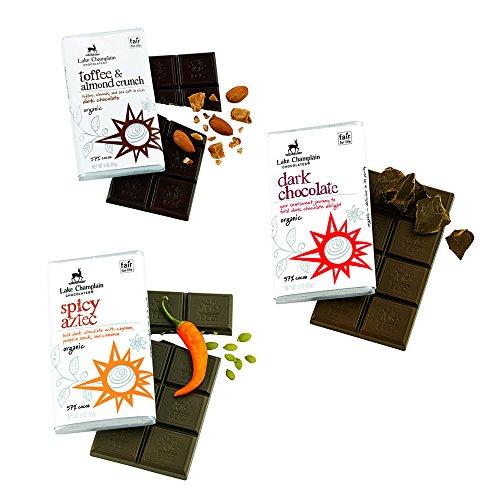 Lake Champlain Chocolates Organic Mild Dark Chocolate Bars Variety Pack Certified Kosher - 3 Pack (Bars Chocolate Mint Cliff)