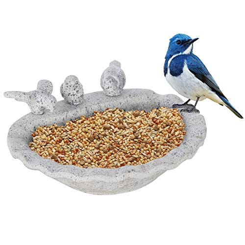 (MyGift 11-Inch Gray Cement Tabletop Mini Bird Feeder/Succulent Plant Bowl)