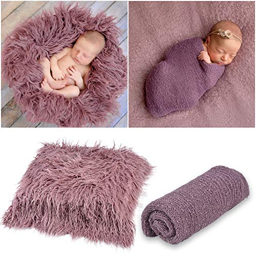 Outgeek Newborn Baby Photography Props Photo Blanket Long Hair Photography Wrap Shaggy Area Rug Baby Photo Prop (Purple)
