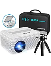 BIGASUO [2021 Upgrade] Full HD Bluetooth Projector with Built-in DVD Player, Portable Mini Projector 5500L Compatible with iPhone/iPad/HDMI/VGA/AV/USB/TF SD Card, 720P Native 1080P Supported
