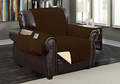 Sofa Guard Deluxe Reversible Chair Furniture Pet Protector, Coffee / Tan