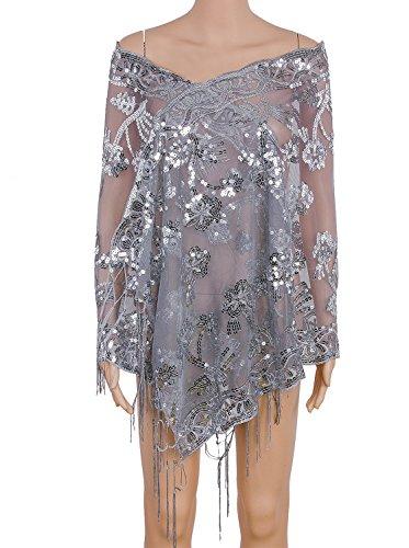 Vijiv Women's 1920s Sequin Shawl Wraps Cape Shrug For Gatsby Bridal Wedding Evening Dresses 21.5
